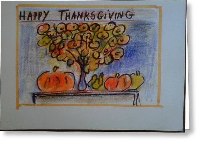 Organic Drawings Greeting Cards - Thanksgiving Peace Greeting Card by Betsy Mallegg