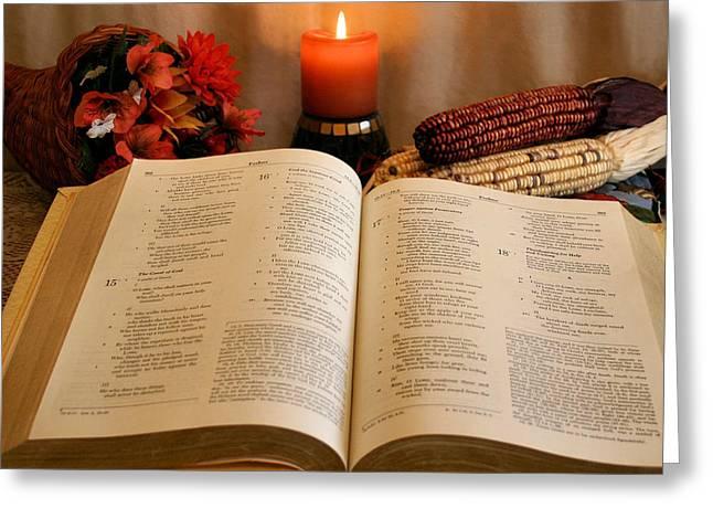 Cornucopia Greeting Cards - Thanksgiving Psalm 18 Greeting Card by Kristin Elmquist