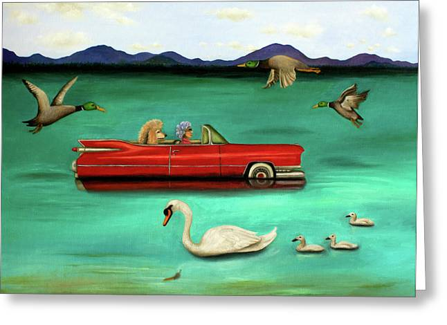 Baby Mallards Greeting Cards - That Damn GPS Greeting Card by Leah Saulnier The Painting Maniac
