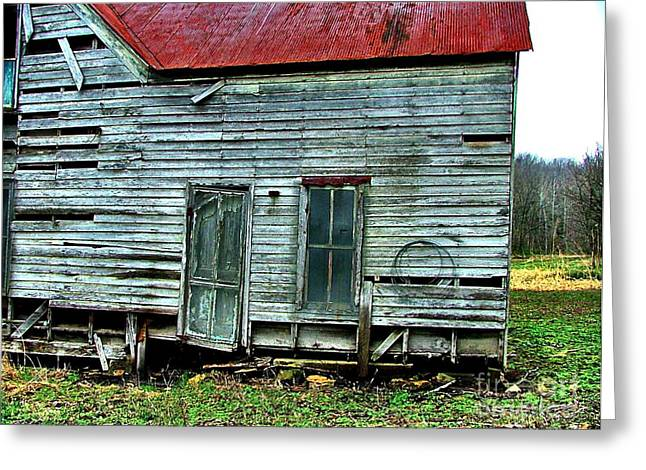 Clapboard House Greeting Cards - That Old House Down By the Creek Greeting Card by Julie Dant