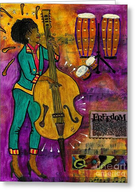 Survivor Art Greeting Cards - That Sistah on the Bass Greeting Card by Angela L Walker