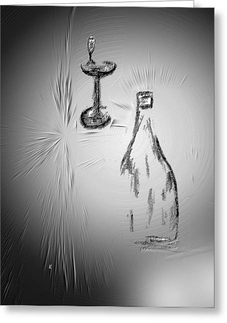 Wine-glass Drawings Greeting Cards - That Was Good Greeting Card by John Krakora