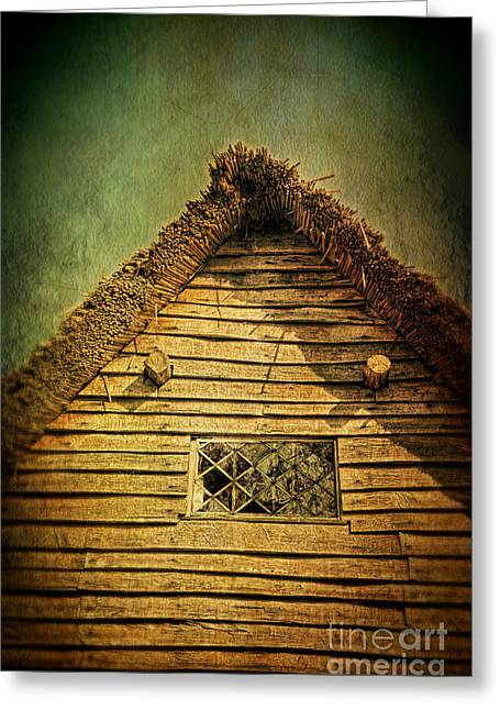 Rood Greeting Cards - Thatched Cottage and Leaded Window Greeting Card by Jill Battaglia