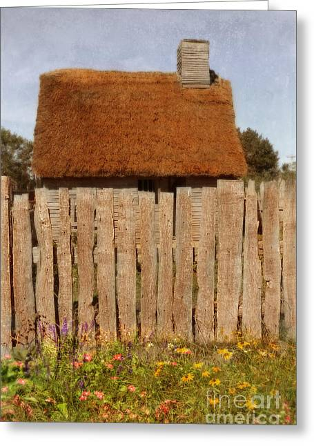 Rood Greeting Cards - Thatched Cottage Behind Fence Greeting Card by Jill Battaglia