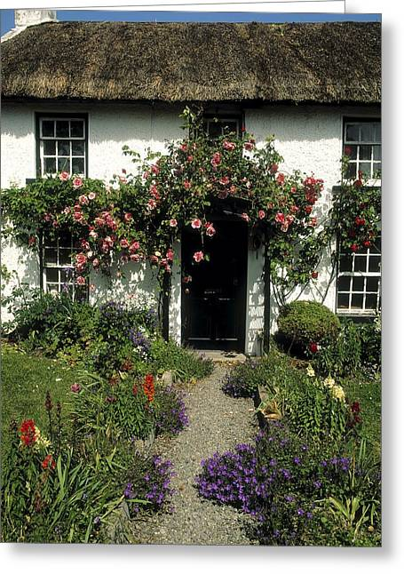 Garden Statuary Greeting Cards - Thatched Cottage, Carlingford, Co Greeting Card by The Irish Image Collection