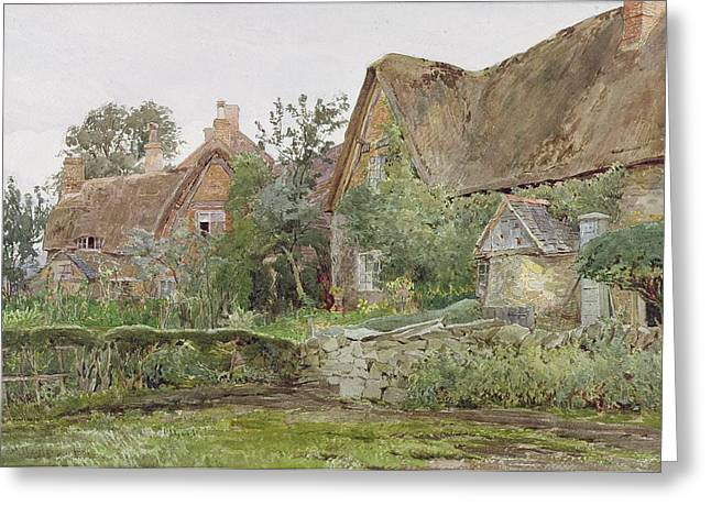 Graphite Paintings Greeting Cards - Thatched Cottages and Cottage Gardens Greeting Card by John Fulleylove