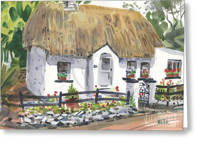 Screen Greeting Cards - Thatched Roof Cottage Greeting Card by Donald Maier
