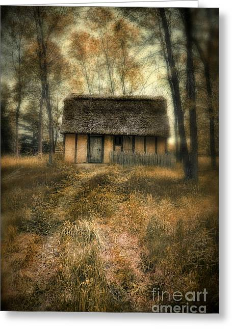 Old Cabins Greeting Cards - Thatched Roof Cottage in the Woods Greeting Card by Jill Battaglia