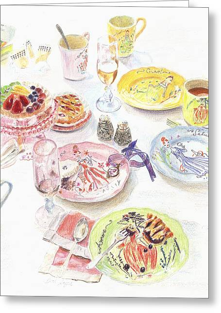 Blueberries Drawing Greeting Cards - Thats Amore Greeting Card by Beth Saffer