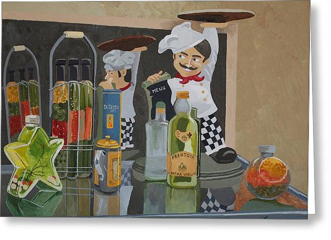 Italian Restaurant Greeting Cards - Thats Amore II - Like A Big Pizza Pie Greeting Card by Jennifer  Donald