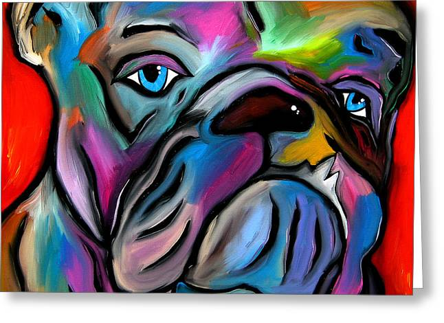 Wine Deco Art Mixed Media Greeting Cards - Thats Bull - Abstract Dog Pop Art by Fidostudio Greeting Card by Tom Fedro - Fidostudio
