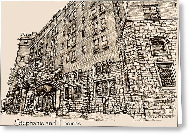 Wedding Gift Ideas Greeting Cards - Thayer Hotel for Steph and Thomas Greeting Card by Building  Art