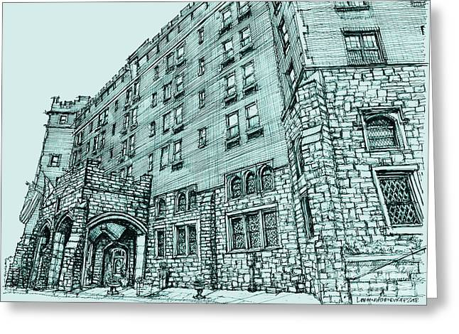 Blue Drawings Greeting Cards - Thayer Hotel in blue Greeting Card by Building  Art
