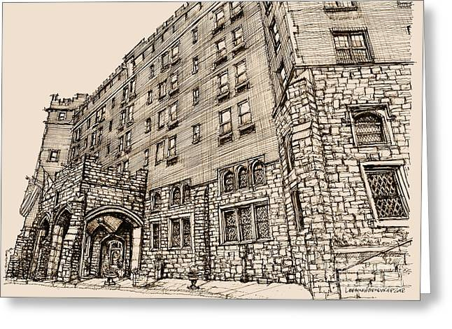 Ink Drawing Greeting Cards - Thayer Hotel in pink Greeting Card by Building  Art