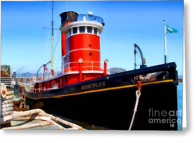 Steamboat Greeting Cards - The 1907 Hercules Steam Tug Boat . 7D14141 Greeting Card by Wingsdomain Art and Photography