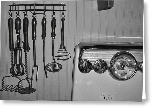 Meat Hook Greeting Cards - The 1950s Kitchen in Black and White Greeting Card by Kathy Clark