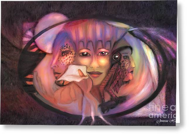 Mistikkal Original Art Greeting Cards - The 3 Goddesses Greeting Card by Rosy Hall
