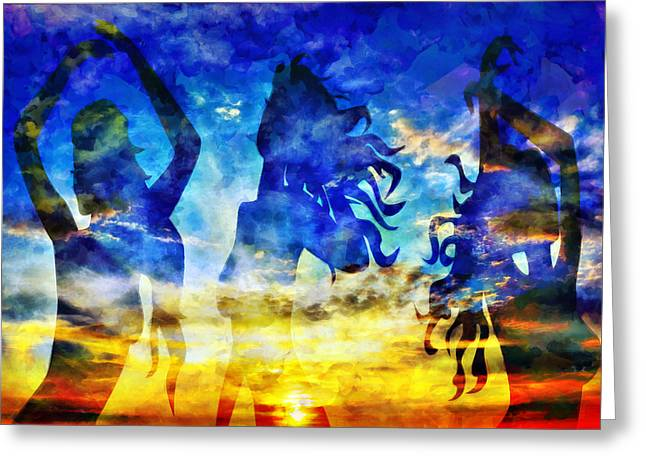 Amazing Sunset Mixed Media Greeting Cards - The 3 Muses 1 Greeting Card by Angelina Vick