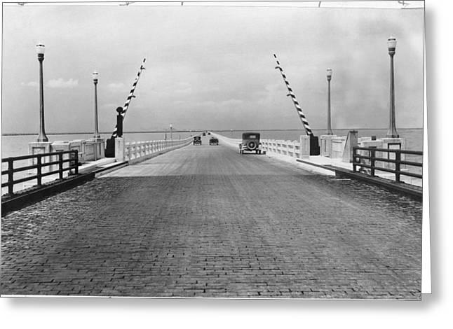 Streetlight Greeting Cards - The 5-mile-long Bridge Across Lake Greeting Card by Edwin L. Wisherd