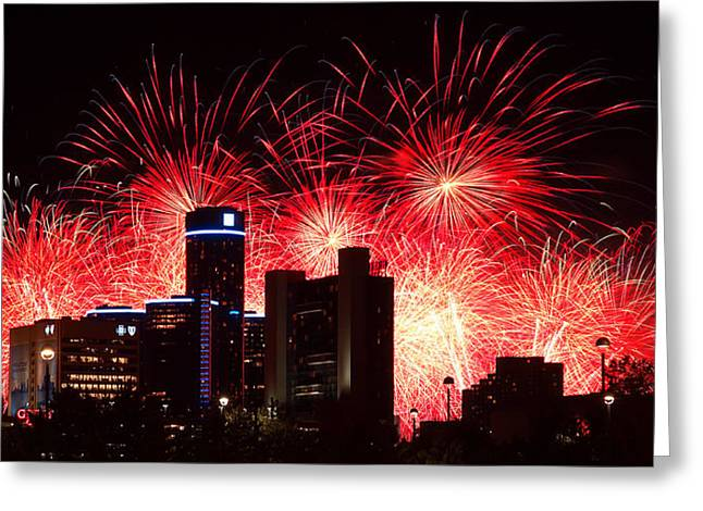 Rencen Greeting Cards - The 54th Annual Target Fireworks in Detroit Michigan - Version 2 Greeting Card by Gordon Dean II