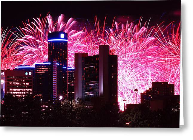 4th July Digital Greeting Cards - The 54th Annual Target Fireworks in Detroit Michigan Greeting Card by Gordon Dean II