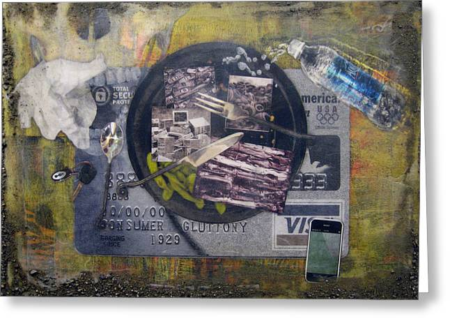 Advertising Mixed Media Greeting Cards - the 7 contemporary sins - Gluttony Greeting Card by Janelle Schneider