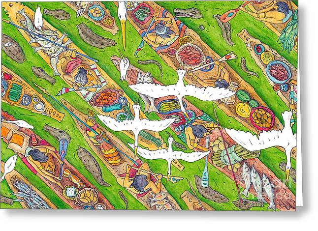 Canoe Drawings Greeting Cards - The 7 Deadlies Greeting Card by Pete Cochrane