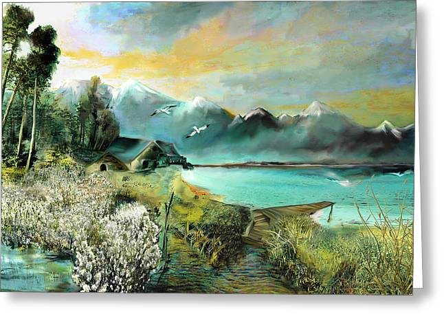 Lake Mixed Media Greeting Cards - The abandoned house at the sea  Greeting Card by Anne Weirich