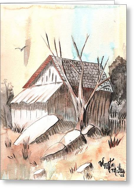 Shed Drawings Greeting Cards - The Abandoned Woodshed Greeting Card by Windy Mountain