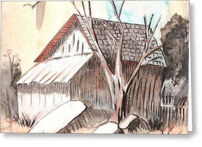 The Abandoned Woodshed Greeting Card by Windy Mountain