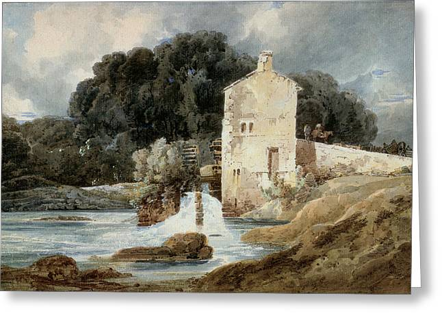 Water Mill Greeting Cards - The Abbey Mill - Knaresborough Greeting Card by Thomas Girtin