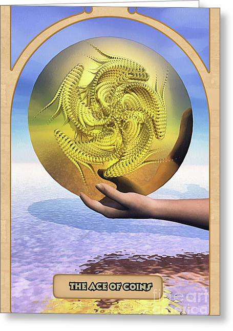 Teller Greeting Cards - The Ace of Coins Greeting Card by John Edwards