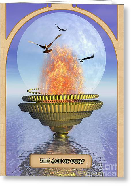 Spiritual Drawings Greeting Cards - The Ace of Cups Greeting Card by John Edwards