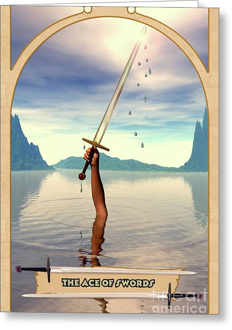 Spiritual Drawings Greeting Cards - The Ace of Swords Greeting Card by John Edwards