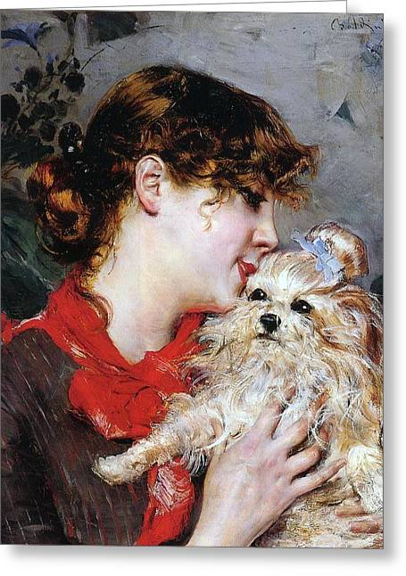 Giovanni Greeting Cards - The actress Rejane and her dog Greeting Card by Giovanni Boldini
