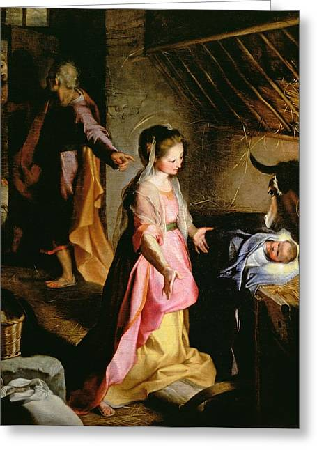 Xmas Greeting Cards - The Adoration of the Child Greeting Card by Federico Fiori Barocci or Baroccio