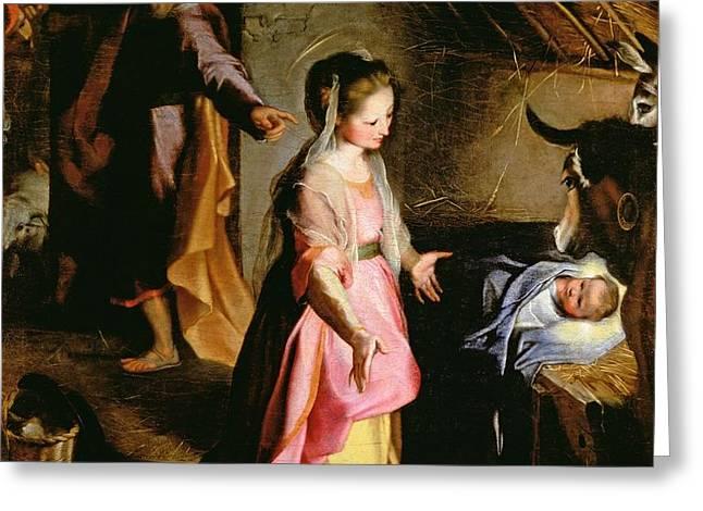 The Adoration of the Child Greeting Card by Federico Fiori Barocci or Baroccio