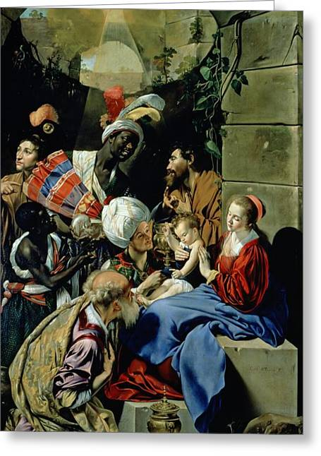 Magi Greeting Cards - The Adoration of the Kings Greeting Card by Fray Juan Batista Maino