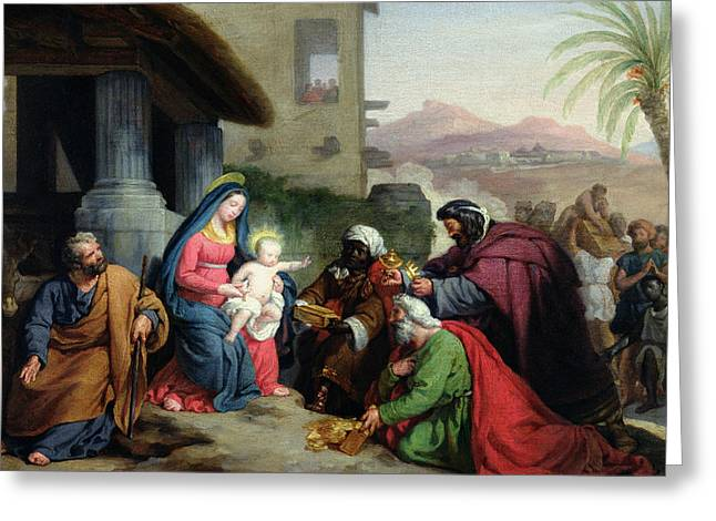 1833 Greeting Cards - The Adoration of the Magi Greeting Card by Jean Pierre Granger