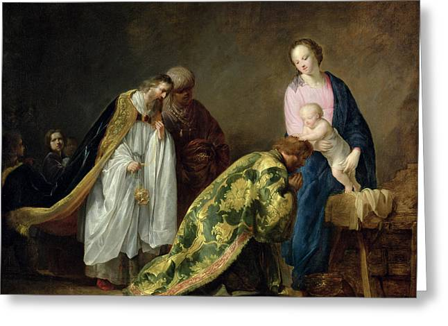 Magi Greeting Cards - The Adoration of the Magi Greeting Card by Pieter Fransz de Grebber