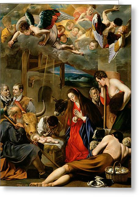 Kneel Greeting Cards - The Adoration of the Shepherds Greeting Card by Fray Juan Batista Maino or Mayno