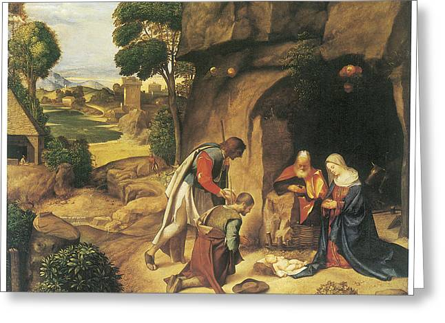 Adoration Of The Shepherds; Shepherd; Infant Jesus Christ; Baby; Child; Joseph; Virgin Mary; Madonna; Holy Family; Stable; Manger; Ox; Oxen; Straw Greeting Cards - The Adoration of the Shepherds Greeting Card by Giorgione