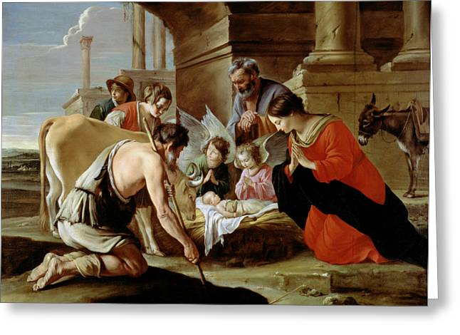 Shepherd Greeting Cards - The Adoration of the Shepherds Greeting Card by Louis Le Nain