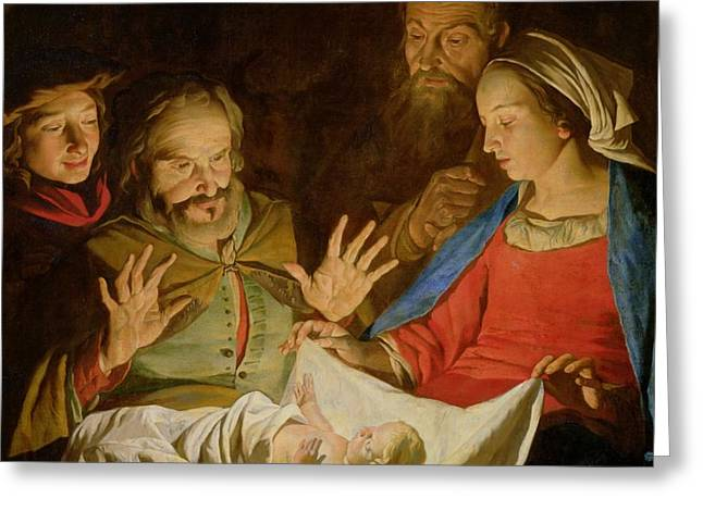 The Adoration of the Shepherds Greeting Card by Matthias Stomer