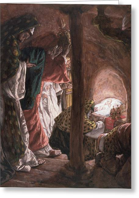 Spiritual Paintings Greeting Cards - The Adoration of the Wise Men Greeting Card by Tissot