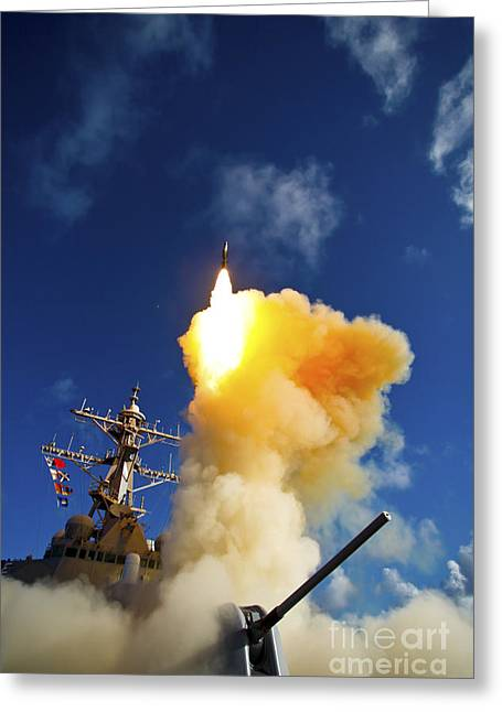 Sms Greeting Cards - The Aegis-class Destroyer Uss Hopper Greeting Card by Stocktrek Images