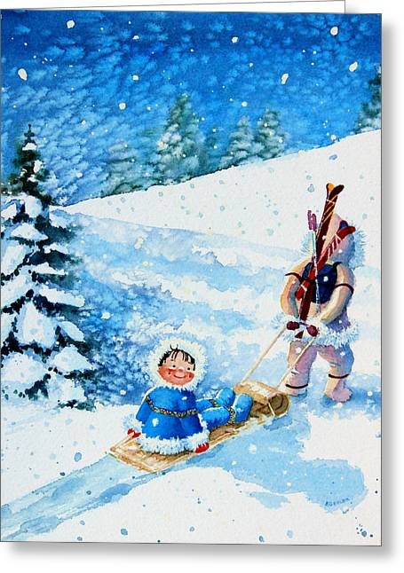 Ski Art Greeting Cards - The Aerial Skier - 1 Greeting Card by Hanne Lore Koehler