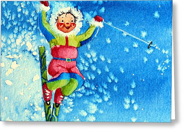 The Aerial Skier 12 Greeting Card by Hanne Lore Koehler
