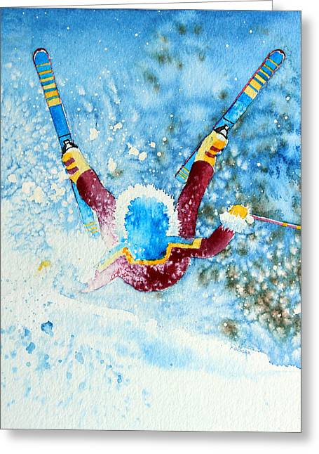 Ski Art Greeting Cards - The Aerial Skier - 14 Greeting Card by Hanne Lore Koehler