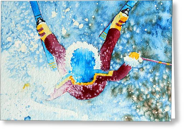 The Aerial Skier - 14 Greeting Card by Hanne Lore Koehler